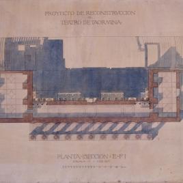 Proyecto de restauración del teatro antiguo de Taormina. Planta sección E y F