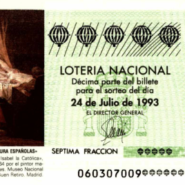 Capilla de décimo de Lotería Nacional para el sorteo de 24 de julio de 1993