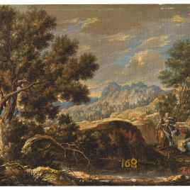 Cristo y la samaritana en un paisaje