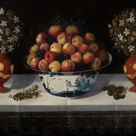 Delft Fruit Bowl and two Vases of Flowers
