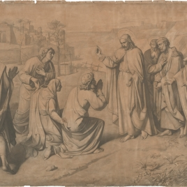 Cristo con apóstoles y la madre de Santiago y Juan