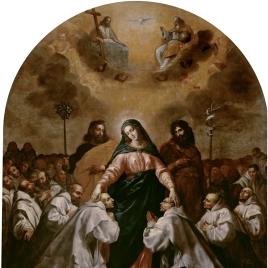 La Virgen, acompañada de San José y San Juan Bautista, ampara bajo su manto a la Orden Cartujana