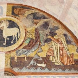 Caín (o Melquisedec) presentando ofrenda. Pintura mural de la ermita de la Vera Cruz de Maderuelo