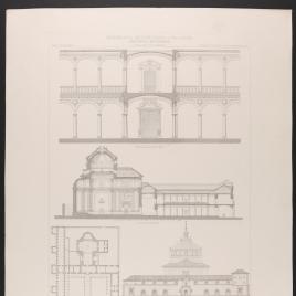 Planta, alzado y secciones del Hospital de San Juan Bautista en Toledo