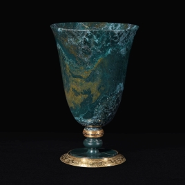 Goblet of partially-agatised jasper