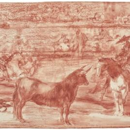 El célebre Fernando del Toro, barilarguero, obligando á la fiera con su garrocha
