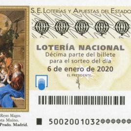 Capilla de billete de Lotería Nacional para el sorteo de 6 de enero de 2020