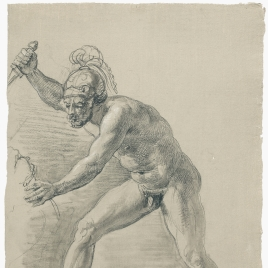 Estudio de desnudo masculino con casco y puñal