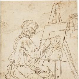 Joven pintando ante un caballete