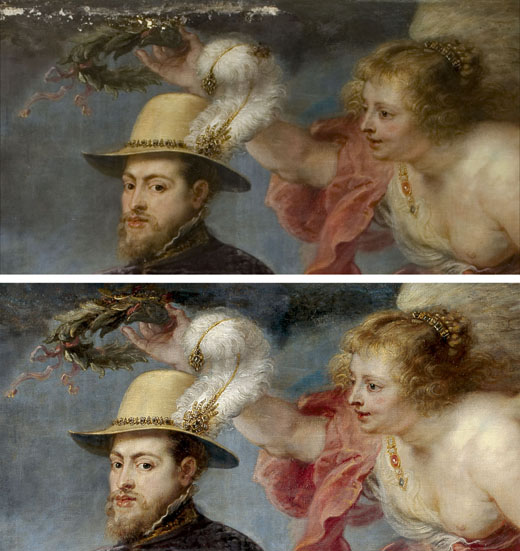 <p><em>Fig.4</em>. Detail of the painting during and after restoration</p>