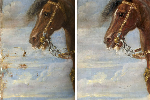 <p><em>Fig.3</em>. Detail of the painting during and after restoration</p>