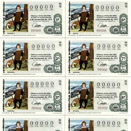 Capilla de billete de Lotería Nacional para el sorteo de 4 de noviembre de 1972