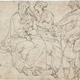 Group of Figures / Studies of a Young Woman Reclinig on the Ground, Holding an Urn