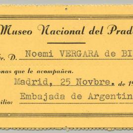 Tarjeta de visita gratuita al Museo del Prado expedidas por la Dirección de 1968