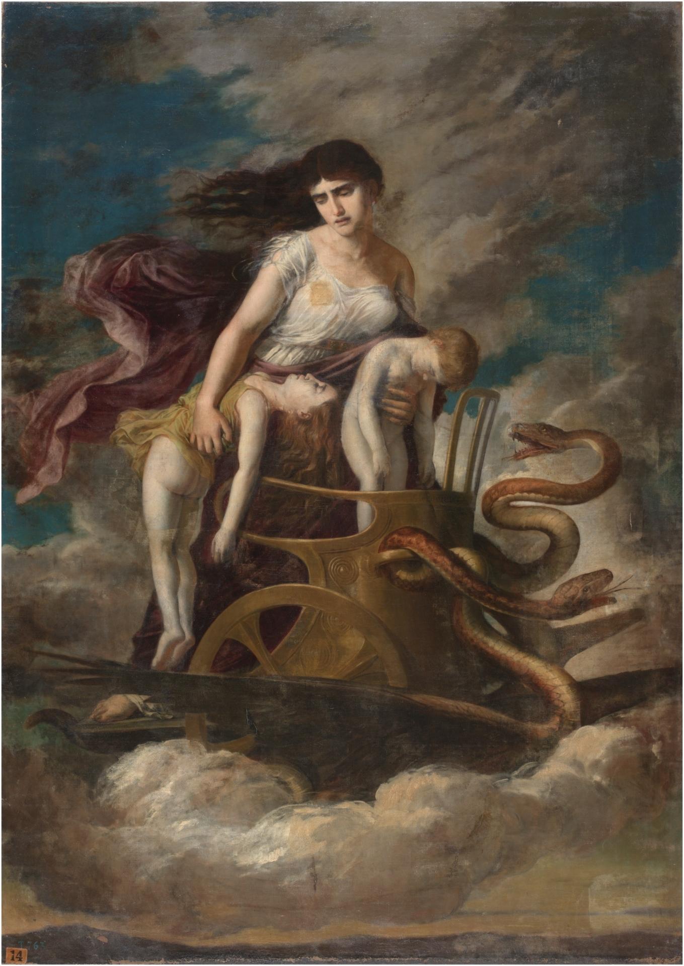 Medea, con los hijos muertos, huye de Corinto en un carro tirado por  dragones - Colección - Museo Nacional del Prado