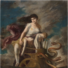 Medea, con los hijos muertos, huye de Corinto en un carro tirado por dragones