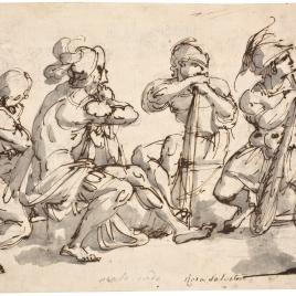 Grupo de cuatro guerreros sentados