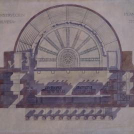 Proyecto de restauración del teatro antiguo de Taormina. Planta sección C y D.