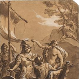 Tres soldados y un desnudo femenino en barca