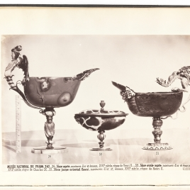 Boat-shaped agate cup with a winged siren, Boat-shaped agate cup with two masks and cover, Jasper boat-shaped cup with a dragon