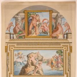 Vista de la Galería Carracci, pared oriental, en el palacio Farnese
