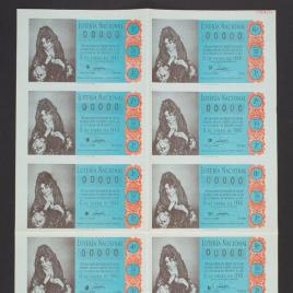 Capilla de billete de Lotería Nacional para el sorteo de 15 de enero de 1960