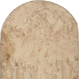 La Virgen y el Niño entronizados apareciéndose a diez santos