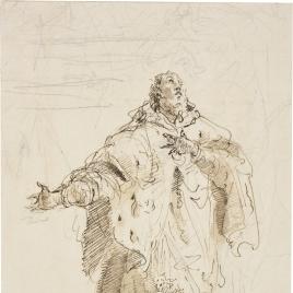 Figura masculina envuelta en un manto de armiño