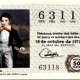 Billete de Lotería Nacional para el sorteo de 18 de octubre de 1972