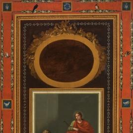 Apolo y Diana bajo un óvalo, rodeados de decoración pompeyana