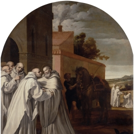 Saint Bernard of Clarivaux visits Guigo I at the Charterhouse
