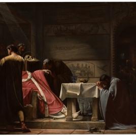 San Esteban, papa, después de su martirio en las catacumbas