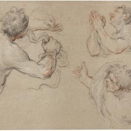 Tres estudios de medias figuras masculinas