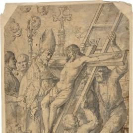 Obispo recibiendo una imagen del Crucificado