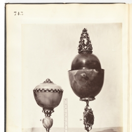 Agate goblet with lid and Egg-shaped agate vessel with cameos on the foot, stem and finial