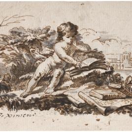 Niño leyendo en un paisaje