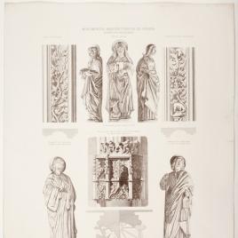 Detalles de las esculturas del claustro de San Juan de los Reyes en Toledo