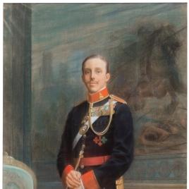 Alfonso XIII con uniforme de militar