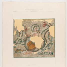 Detalle del Mosaico de Galatea descubierto en Elche en 1861