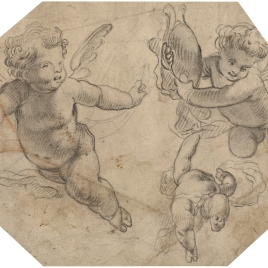 Tres ángeles niños volando