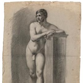 Desnudo masculino apoyado en un pedestal