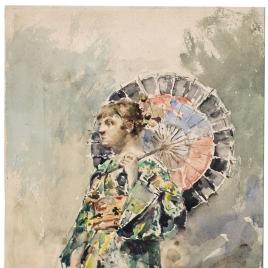 Mujer con sombrilla o japonesa