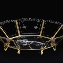 Octagonal rock crystal tray with four engraved dolphins