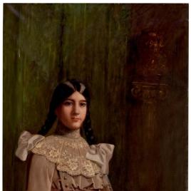 Ángela Benlliure, hija del pintor, con trenzas