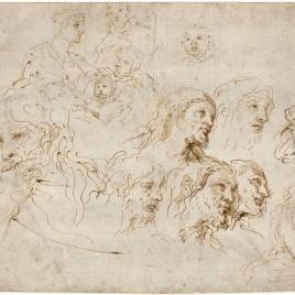 Estudios varios: cabezas masculinas, de Cristo, Sagrada Familia, la Magdalena y Apóstoles