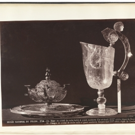 Citrine quartz vase in the shape of an oil lamp and rock crystal ewer with a handle in the form of a winged beast