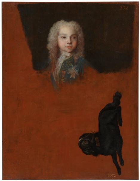Felipe de Borbón y Farnesio, futuro duque de Parma, y un perro negro