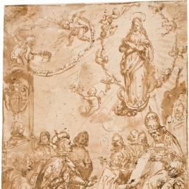 El papa Alejandro VII, dando el Breve del Misterio de la Concepción