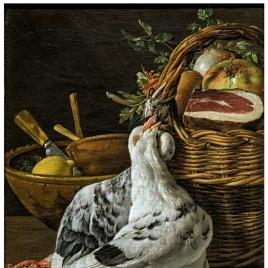 Bodegón con pichones, cesta de comida y cuencos