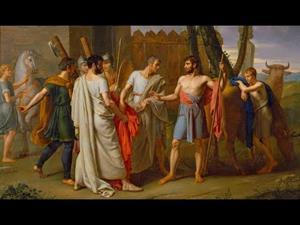 Cincinato abandona el arado para dictar leyes a Roma de Juan Antonio Ribera, con comentarios en latín